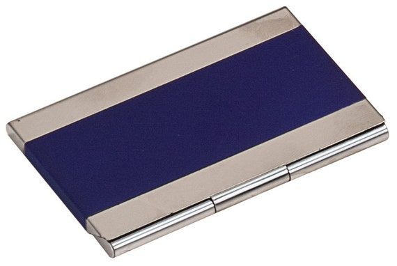 Custom Engraved Blue Business Card Holder