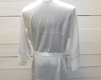 Bride Robe. Bride Satin Robe. Bridesmaid, Maid of Honor, Matron of Honor, Mother of the Bride Groom, Sexy Little Bride. Bridal Party Robe.