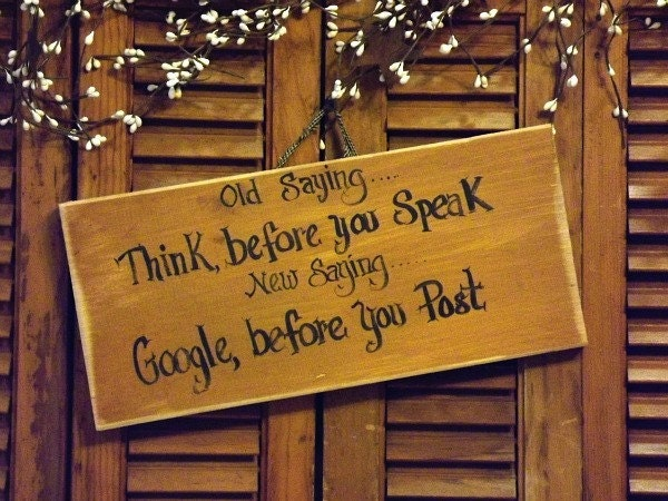 Wooden Sign Handpainted Old Saying Think Before You Speak
