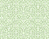 Damask Sweet Pea Green and White floral filigree - Once Upon A Time - Northcott - by the continuous YARD