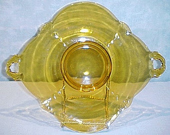 Crow's Foot Amber Depression Glass Plate, Square, 10 inch
