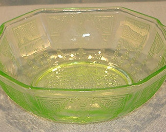Princess Green Depression Glass Small Berry Bowl, 4.25 inches