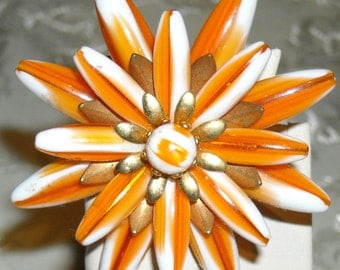 1950's Orange Chrysanthemum Star Flower Brooch
