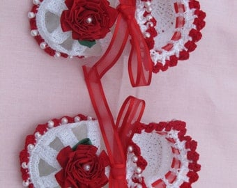 Little Red And White Pearl Beaded Booties