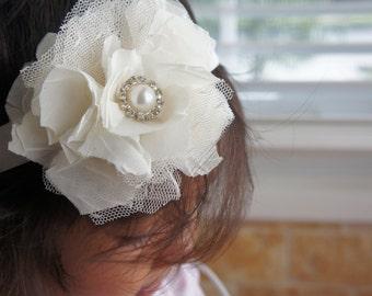 Cream Chiffon and Tulle Flower Headband, Baby Girl Headband, Newborn Girl Headband, Infant Girl Headband, Wedding Headband