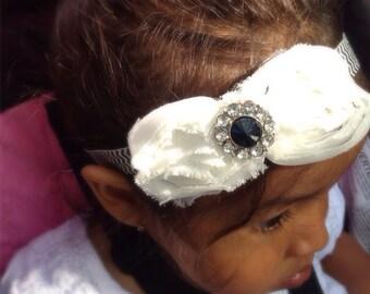 White Color Shabby Chiffon Hair Bow Headband, Girl Headband, Baby Girl Headband, Infant Girl Headband, Newborn Girl Headband,
