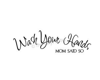Wash Your Hands Vinyl Wall Mirror Bathroom Decal Sticker