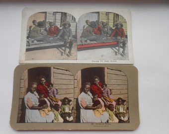 Vintage Black Memorabilia - Two Stereo Viewer Cards