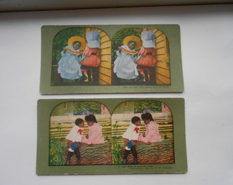 Vintage Black Memorabilia - Two Nice Stereo Viewer Cards