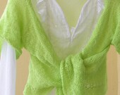 Cardigan, neon, yellow / green, hand-knitted, summer