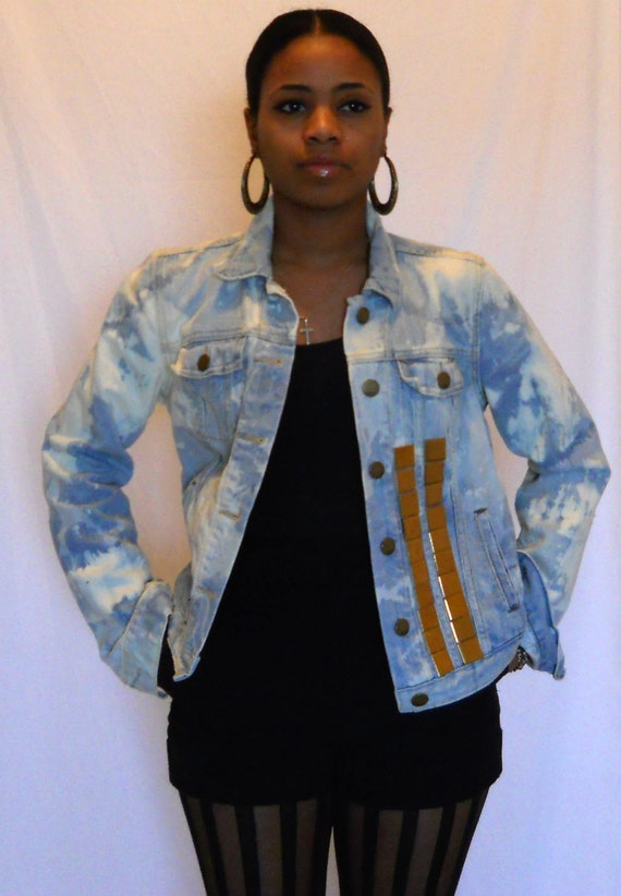 Bleached Blue Jean Long Sleeve Jacket with Gold Tile Appliques