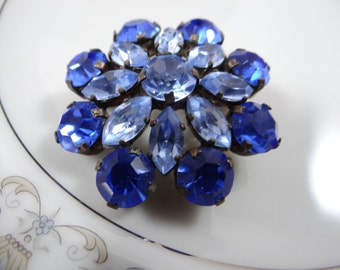 Shades of Blue Vintage Rhinestone Brooch Pin - Lovely