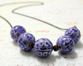 Handmade Geometric Minimalist Big Blue Porcelain Bead necklace Brass Bohemian Boho Soho
