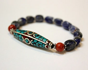Tribal Turquoise Beauty - Napalese Silver and Sodalite stone Stacking Bracelet boho Tribal