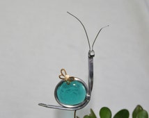 Stained Glass Teal Blue Snail Plant Stake, Garden Art
