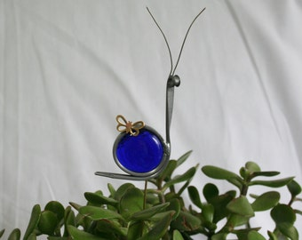 Stained Glass Royal Blue Snail Plant Stake, Garden Art