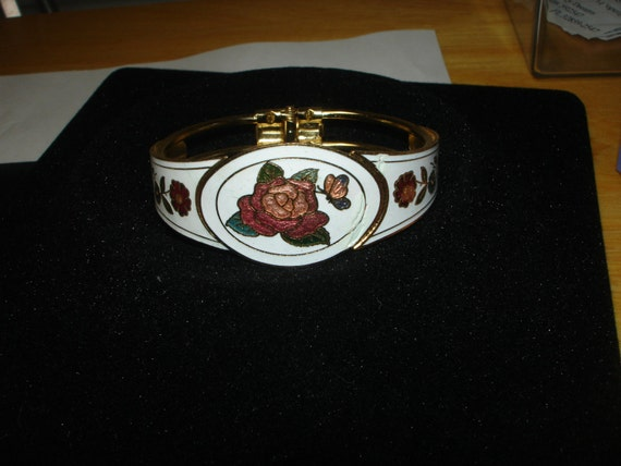 Vintage Enamel Cloisonne Flowers and Butterflies with  Hinged Bracelet,  Great price, from estate sale