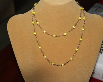 Yellow Cat's Eye and Brass Necklace 2, Long 35 Inch Chain, Yellow Cat's Eye at 1 Inch Intervals, Gold Plated Earrings made to match, Pretty,