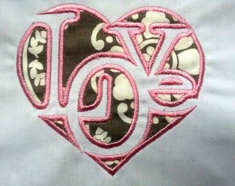 Love Collage Word in Heart Valentine Applique. INSTANT DOWNLOAD Machine Embroidery Design Digitized File