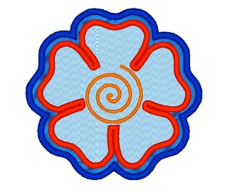 Double Flower Applique with spiral center. Machine Embroidery Design Digitized File 4x4 5x7 6x10