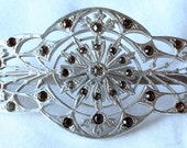 Vintage rare carved aluminum and rhinestone hair clip