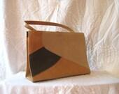 Faux Leather 60s Handbag, top handle purse, naturalizer purse, Vintage Bags and Purses