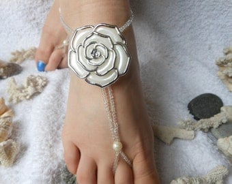 Barefoot Sandals Beach Wedding   Yoga Shoes Foot Jewelry  Beads Pearls Flowers