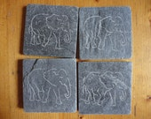 ELEPHANT Coasters - Hand Carved Natural Slate - More Designs Available