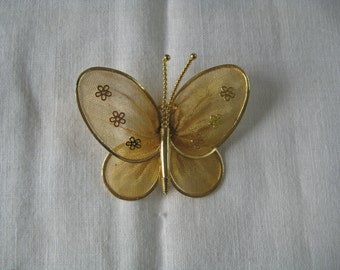 Butterfly Pin Brooch Pendant Mesh with Flowers Goldtone