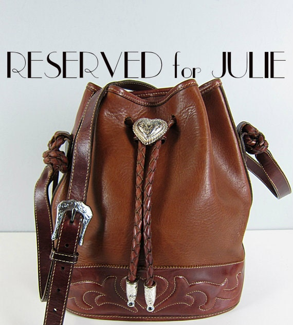 Reserved Vintage Brighton Out West Leather Large Bucket Bag
