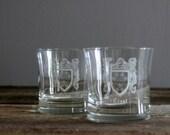 Crest Emblem Vintage Low Ball Drinking Glasses