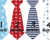 Monthly Onesie Sticker Ties//Nautica/sail boats/Whales// Baby Boy Photo Prop//baby gift, blues
