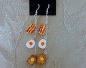 4 inch Sterling Silver and Ceramic Bacon Egg Toast Tea Coffee Fishhook Earrings