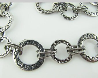 "35""  Antique silver large link handmade chain"