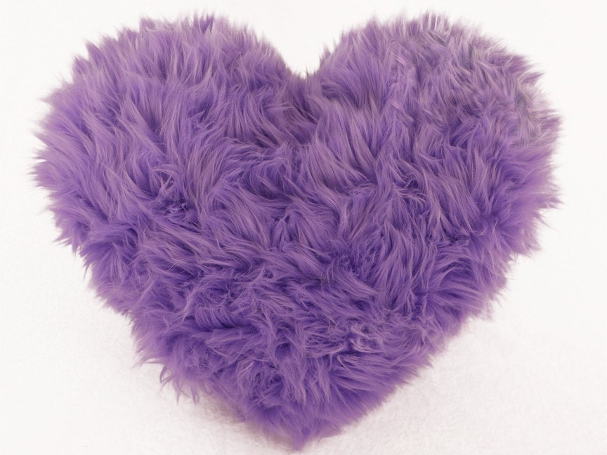 Lavender Faux Fur Heart Shaped Decorative Pillow Spring Easter