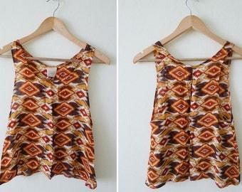 100% cotton Ikat prints sleeveless blouse, hippie shirt, summer tank, loose tank, deep arm hole top, tribal prints,orange tone, comfy, AZTEC