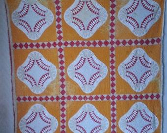 Vintage Orange, White, Red & Beige Quilt