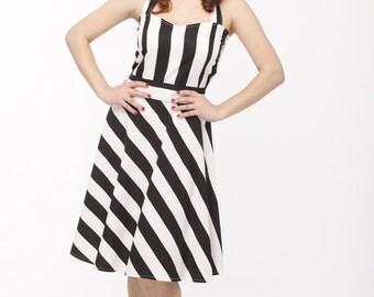 Plus size vintage dress, 1950s Black and white bridesmaid  stripe dress, Retro dress, 50s dress,  Bridesmaid dress, Prom dress