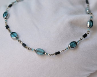 Blue and Silver Window Bead Necklace