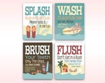 "Childrens Kids Bathroom Art Prints Set of (4) 8"" x 10"" Surf Board Theme // Fine Art Home Decor"