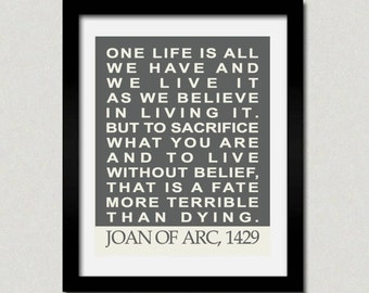 Joan of Arc Inspirational Quote Print - Modern Typography Wall Art - 8 x 10 Poster Print Sand Text Black Light Blue Adobe Red Blue Multi