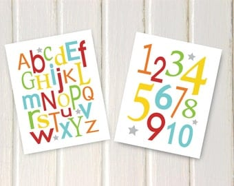 "Childrens Kids Alphabet Numbers Wall Art Prints // Orange, Yellow, Blue, Red, Green // Set of (2) 8"" x 10"" - Kids Bedroom Nursery Playroom"
