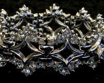 Vintage 1920s Art Deco Crystal Rhinestone Rhodium Link Bracelet
