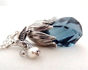 Silver Blue Swarovski Crystal Pendant with Hummingbird Freshwater Pearl Charm Handmade Long Nature Necklace