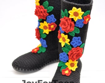Crochet Boots for the Street Folk Tribal Boots Boho Boots Ukrainian ethnic style Ukrainian folk art Made to Order