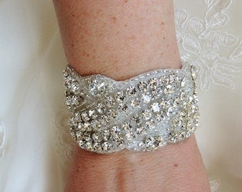 Wedding Bridal Beaded Crystal Bracelet Cuff