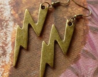 Antique Bronze Lightning Bolt Earrings (Steampunk)