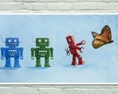 """Poster with vintage toys clockwork robots... and a butterfly. Laser print of my original painting: """"be different"""". Poster 17""""x9"""""""