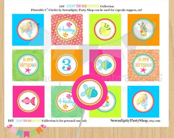 "DIY Under the Sea Mermaid Party Circles, Printable 2"" Party Circles, Printable Tags, Personalized Digital Cupcake Toppers, Mermaid"