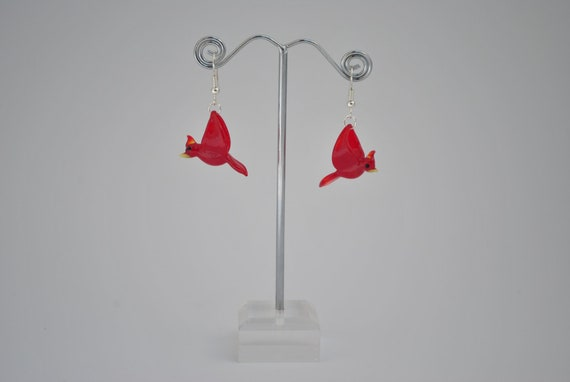 Glass Cardinal Earrings